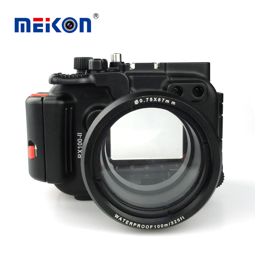 Meikon Aluminum camera housing for diving 100M/325ft underwater waterproof Aluminum camera case for Sony RX100 II / RX100 M2 mcoplus for sony a7ii a7 mark ii camera waterproof case 100m 325ft alloy manufacturing underwater camera diving housing bag