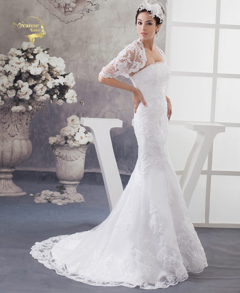 2019 Spring Lace Strapless Mermaid Wedding Dresses With