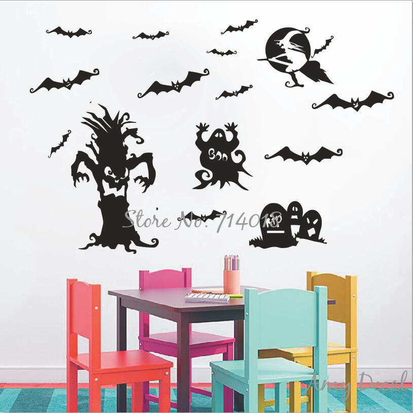halloween festival wall decal spooky tree tombstones witch wall stickers home interior decor amusement park poster - Spooky Halloween Store