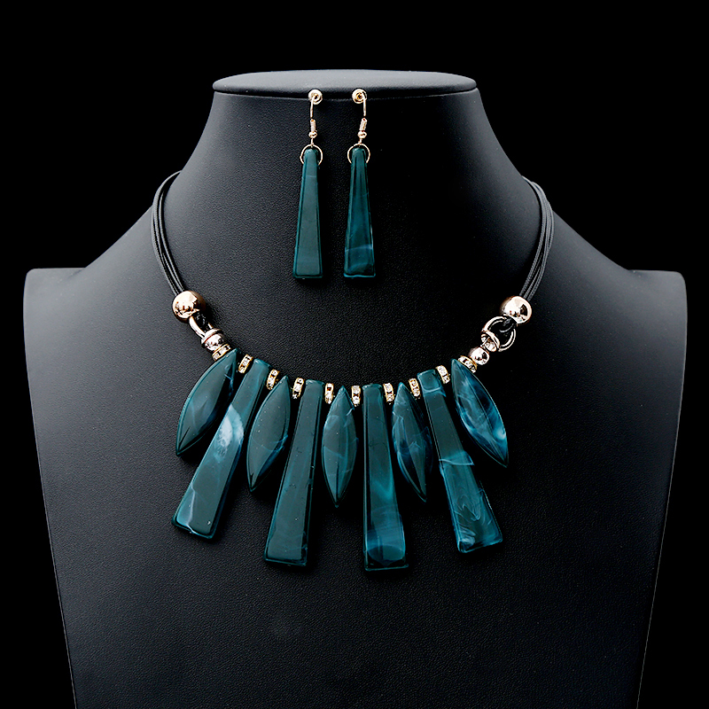 2019 New Luxury Fashion Acrylic Classic Jewelry Set Women's Long Charm Necklace Earrings 2 Pcs Wedding Set Accessory Gift Boho