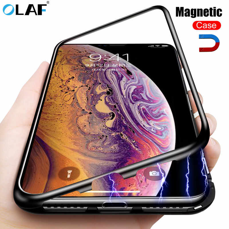 Olaf Magnetic Metal Case For iPhone X XS Max XR 7 8 6 Plus Magnet Glass Case For Samsung Galaxy S8 S9 Plus Note 8 9 Cases Coque