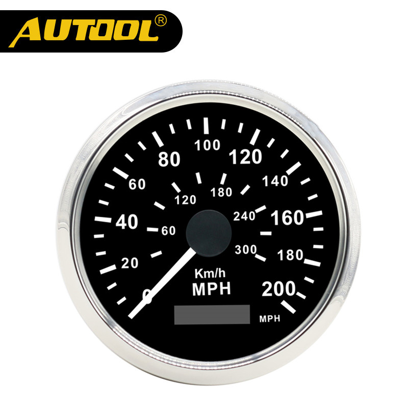 AUTOOL Universal Car GPS Speedometer 200MPH 300KMH Automotive Truck 12V 24V 85mm Stainless Steel Waterproof Bezel Digital Gauges new arrival 85mm auto stainless digital tachometer 80x100rpm for engine car truck 12v 24v fast shipping