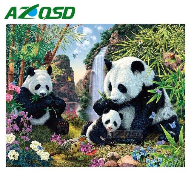 AZQSD 3D Diamond Painting Cross Stitch Cute Panda Family Full Square Drill  Diamond Embroidery Set Mosaic