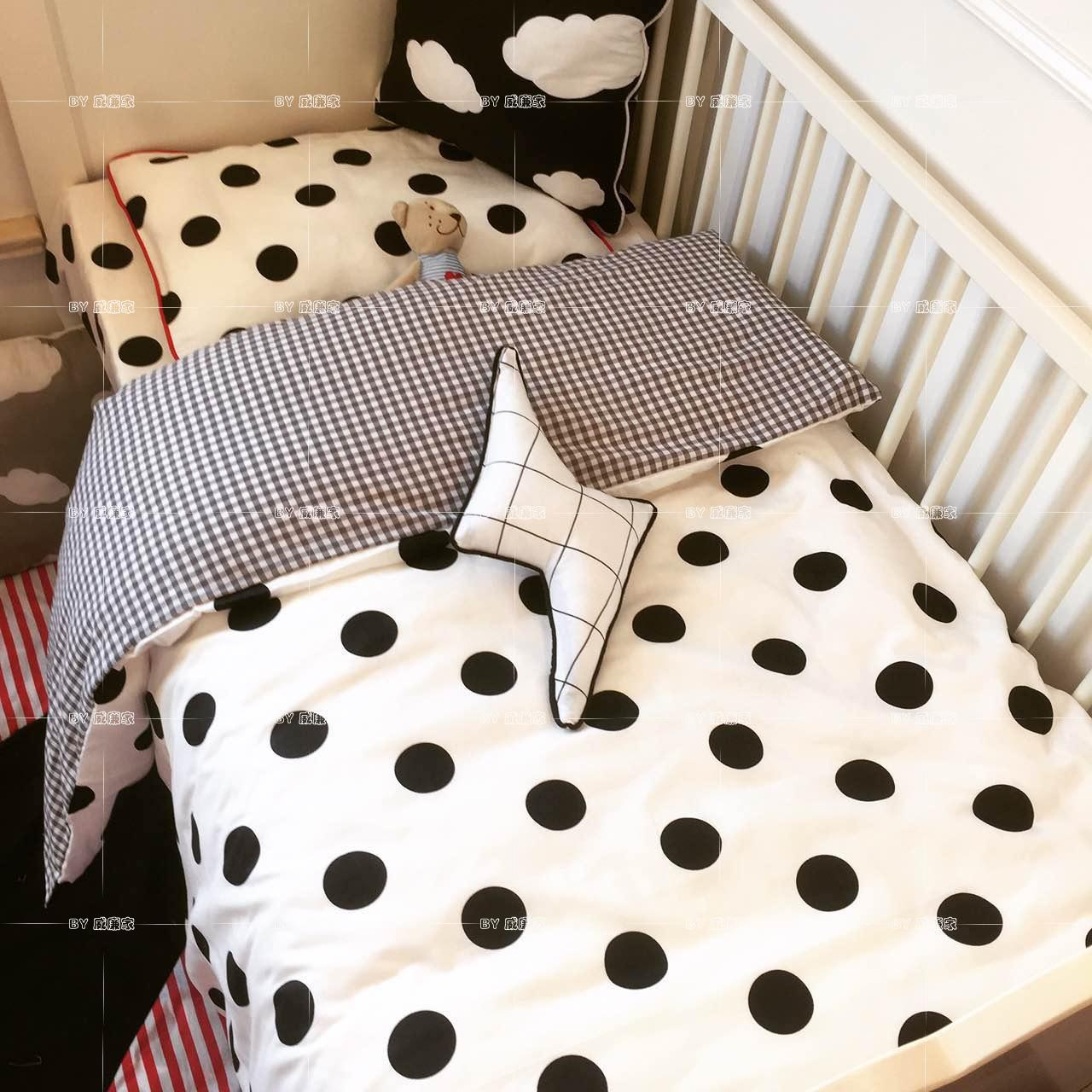 3pcs set black white Polka Dot Baby bedding set baby crib cute style sweet heart fox
