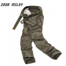 ZOOB MILEY Military Pants Men Baggy Cargo Pants Loose Fit Outer door Military Overalls Causal Trousers (No Belt) Plus Size 28-40