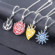 RWBY 4 Colors Long Necklace Rose Weiss Schnee Blake Belladonna Yang Xiao Necklaces Pendants for Friends Jewelry Gift
