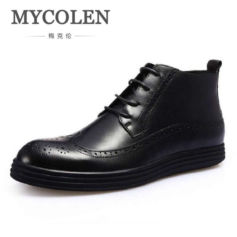 MYCOLEN Men Boots Cow Leather Men Ankle Boots Lace-Up Top Quality Men Brogue Shoes British Retro Winter Men Shoes Sapatos куртка gaudi 811fu35021 2820