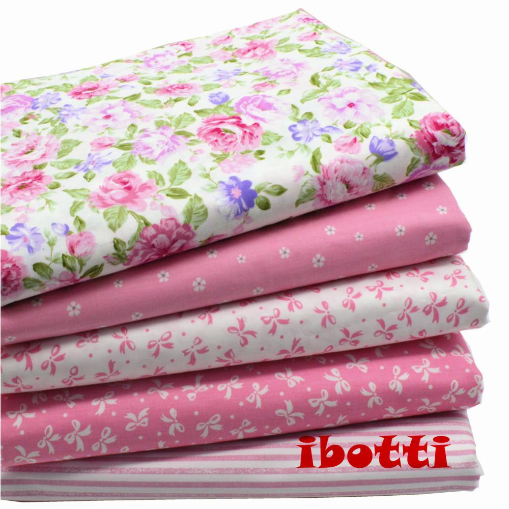 5 pcs/Lot 40*50cm Pink  Floral Series 100% cotton fabric patchwork fabric Bundle tilda fabric for sewing Diy cloth