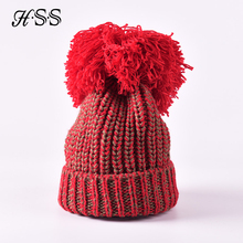 New trend ladies super large hair ball thick knitted thick wool hat Autumn and winter fashion warm woman beanies