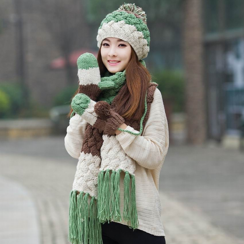 Kagenmo Cap Gloves Scarf Three Set Thick Cotton Knit Women'S Warm Winter Fashion Contrast Color Female Set