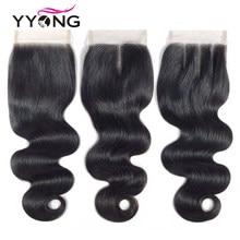 Yyong fechamento brasileiro da onda do corpo remy 4x4 fechamento de renda marrom médio livre/meio/três parte laço suíço com cabelo do bebê 8