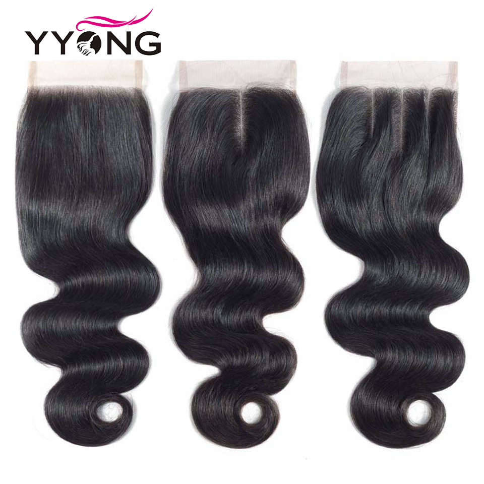 """Yyong Hair Brazilian Body Wave Closure Remy Hair Weave 4X4 Lace Closure Free/Middle/Three Part Swiss Lace With Baby Hair 8""""-22"""