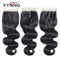 """Yyong cheveux brésilien corps vague fermeture Remy cheveux armure 4X4 dentelle fermeture libre/milieu/trois parties dentelle suisse avec bébé cheveux 8 """"-22"""""""