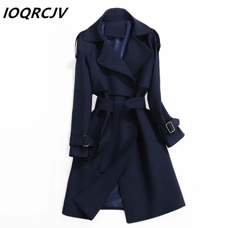 Women Trench Coat 2019 Spring Autumn Fashion Casual Slim Long Sleeves Classic Double-Breasted Long Windbreaker Female Outwear
