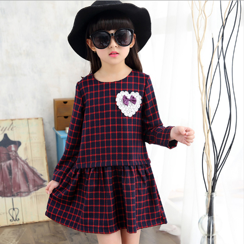 Girls Dresses Clothing 2017 New Fashion Autumn Cotton Plaid Patchwork Bow A-Line Kids Dress Casual Style Children Clothes Ds354 2016 new summer lovely girls dress kids colorful a line leisure fashion dresses children clothing
