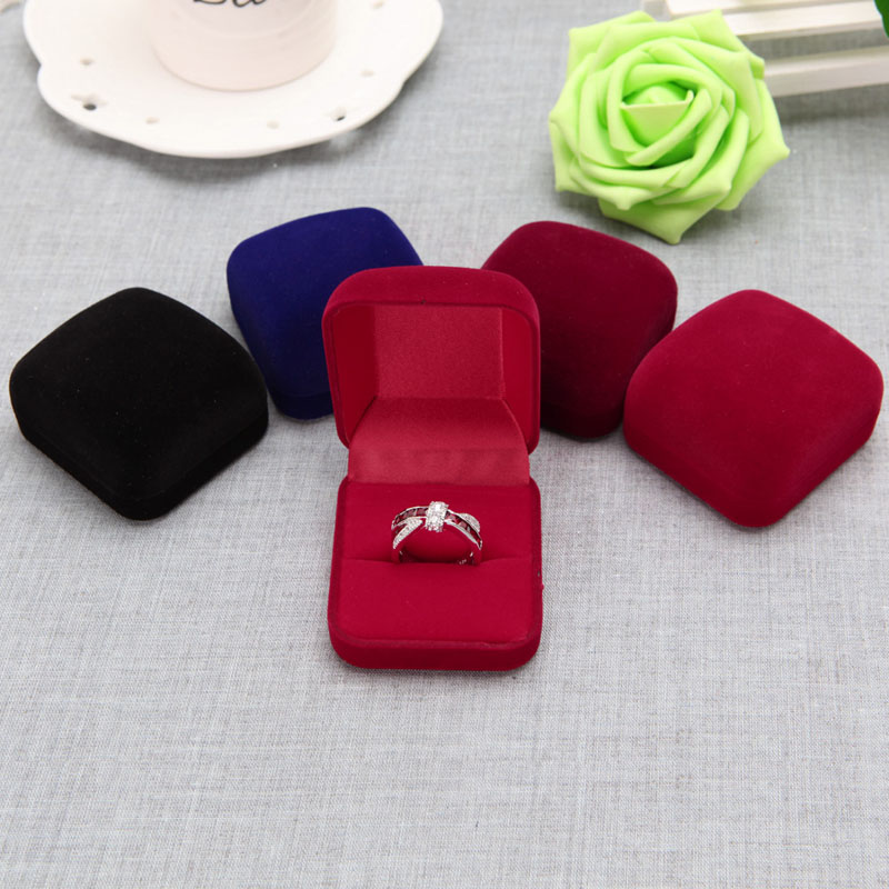 Fashion 5Colors Velvet Engagement Wedding Ring Earring Pendant Jewelry Display Box Gifts