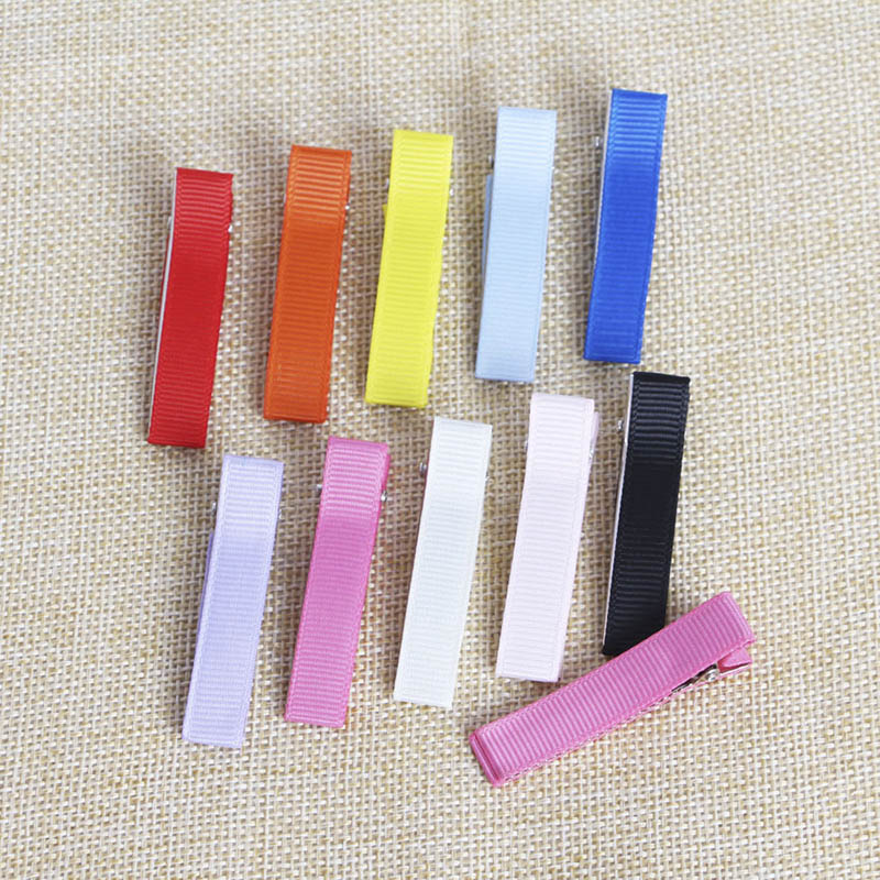 20pcs 5cm Colorful Fabric Hair Clip Base Kids Hairpin Accessories Ribbed Webbing Hairclips Setting For Diy Jewelry Making