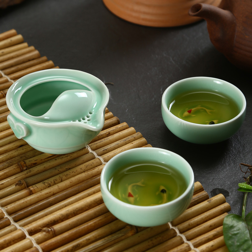 High grade Longquan Celadon tea cup Teapot porcelain portable Tea Sets Travel Tea Set Ceramic 2 teacups 1 Teapot Quik cup Gaiwan