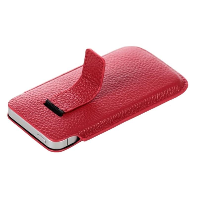 imágenes para Bolsa del teléfono de Cuero de lujo para el iphone de Apple 5 caja del teléfono del Cuero Genuino 5S bolsa patrón de Lychee funda de Cuero Hebilla abierta