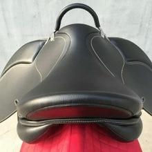 Aoud седло для верховой езды из ПВХ, тренировочное седло, синтетическое седло, износостойкое седло с ручкой для безопасности, цвет черный, коричневый