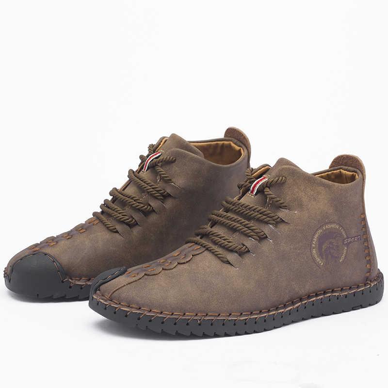 Marka Yeni Erkek siyah çizmeler Sıcak Kış Erkek Botları Bölünmüş Deri günlük erkek ayakkabısı ile Peluş Erkekler Çalışma Platformu Çizmeler Büyük Boy