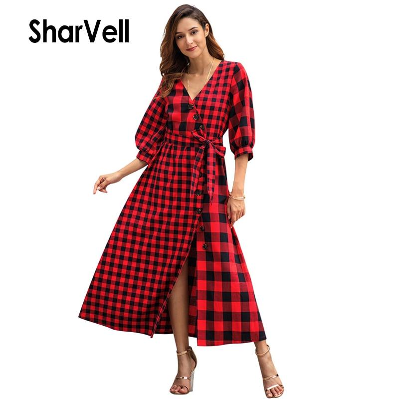 SharVell New Women Dress Casual V-Neck Split Hem Three Quarter Sleeve A-Line Dresses Fashion Plaid Print Bandage Bow Tunic Dress