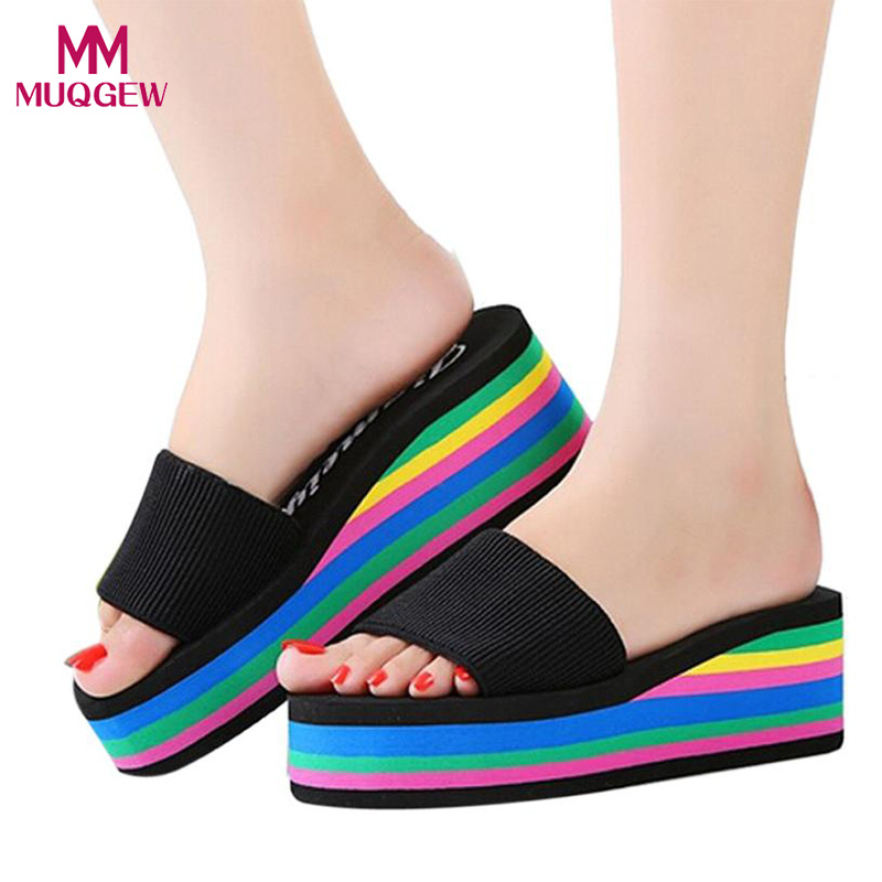 Fashion Rainbow Shoes Women Summer Non-Slip Sandals Female Beach Slippers High Quality EVA Colorful Slippers zapatos mujer instantarts cute cartoon nurse print air mesh sandals women summer casual breathable slip on shoes beach slippers zapatos mujer