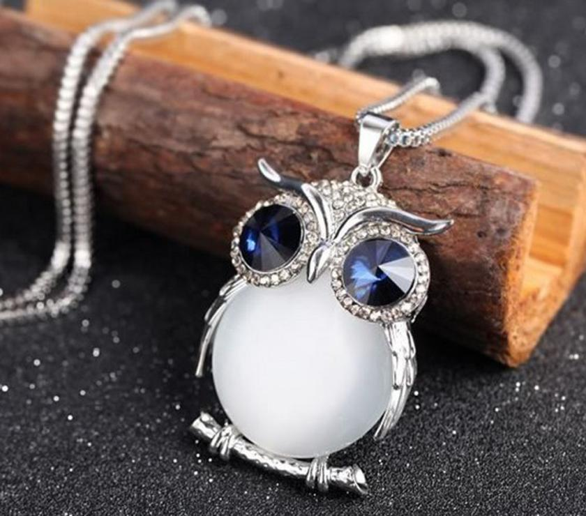 New Style Charmant Women Necklace Owl Pendant Rhinestone Sweater Chain Long Necklaces Jewelry Ornaments Exquisite Torque Trinket(China)