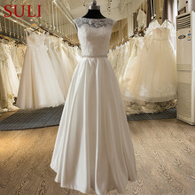 SL-022009 Elegant A-line Sweetheart Lace Bodice Beaded Belt Wedding Dress