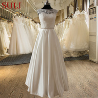 SL 022009 Elegant A Line Sweetheart Lace Bodice Beaded Belt Wedding Dress 2015