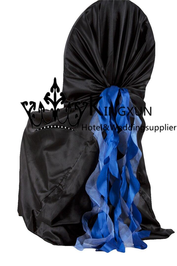 Color Negro satén Fundas para sillas Con Royal Blue tafetán marco de la  silla silla arco 071b7fe0770