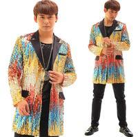 Fashion multicolour paillette blazer men latest coat designs suit men suits for men's jacket singer dance stage rock novelty