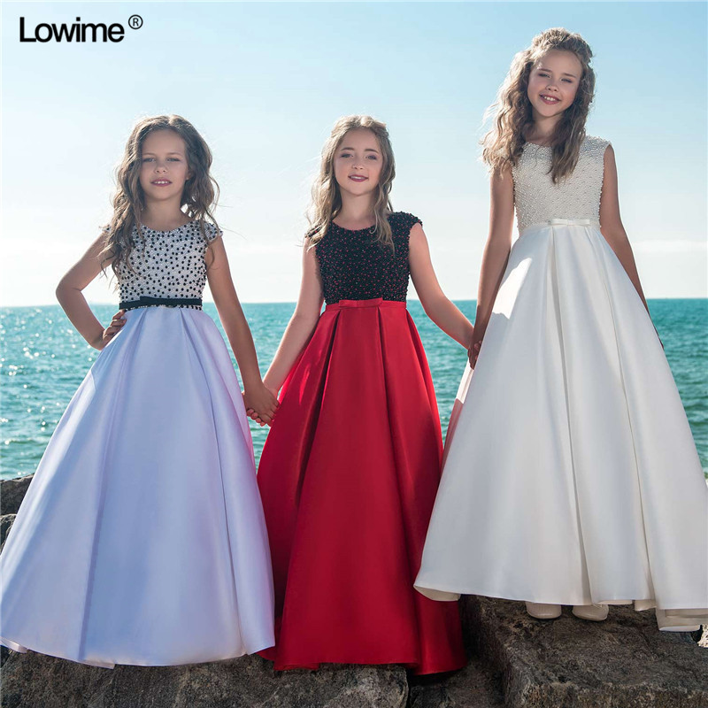 Flower     Girl     Dresses   For Weddings First Communion   Dresses   For   Girls   Cap Sleeves   Girls   Pageant   Dresses   2018 With Pearls Sash