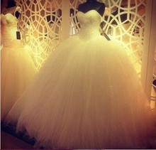 2016 Hot New Custom Made Real Sample Tulle With Full Beading Sweetheart Ball Gown Wedding Dresses Bridal