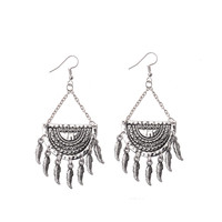 Hot Sales on Lazada Amazon Ancient Silver Plated Sun Pattern Alloy Earrings For Women HXE007