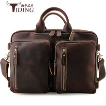 "Купить с кэшбэком Man  Large Capability 16"" Laptop Travel Bags Handbags Genuine Leather Vintage Big Brand Business Travel Crossboy Shoulder Bag"