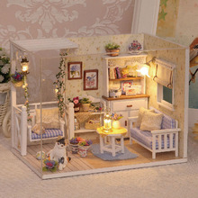 1 Set DIY Mini House Handmade Wooden Cute Cat Room Model With Furniture Kids Toy