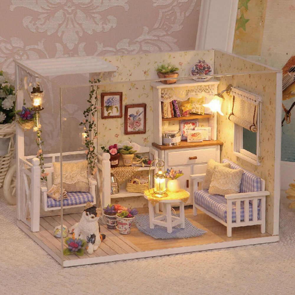 Subcluster 1 Set DIY Mini Huis Handgemaakte Houten Leuke Kat Kamer Model Met Meubels Kinderen Speelgoed