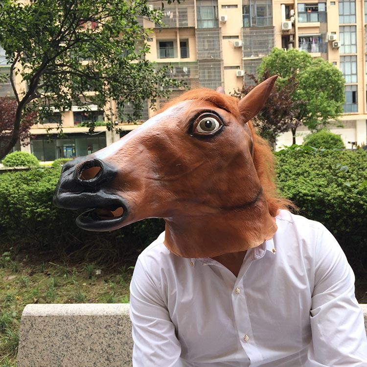 Brown Horse Mask Halloween Costume Party Animal Head Props Party Toys Movie Theme Props Supply