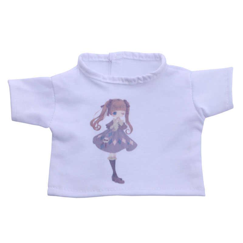 Boneca artesanal Pouco padrão branco T-shirt Fit 18 Polegada American Doll & 43 cm New Born Baby acessórios