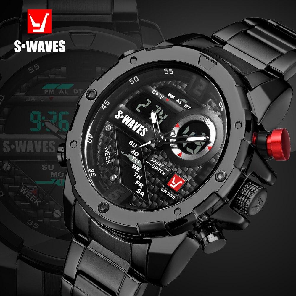 SWAVES Brand Dual Display Watches Men Wach Quartz Sport Waterproof font b Digital b font Watch