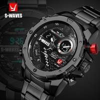 SWAVES Brand Dual Display Watches Men Wach Quartz Sport Waterproof Digital Watch Big Clock Stainless Steel Relogio Masculino