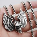 Solid 925 Sterling Silver Skull Wing Mens Biker Pendant 8C012(Necklace 24inch)