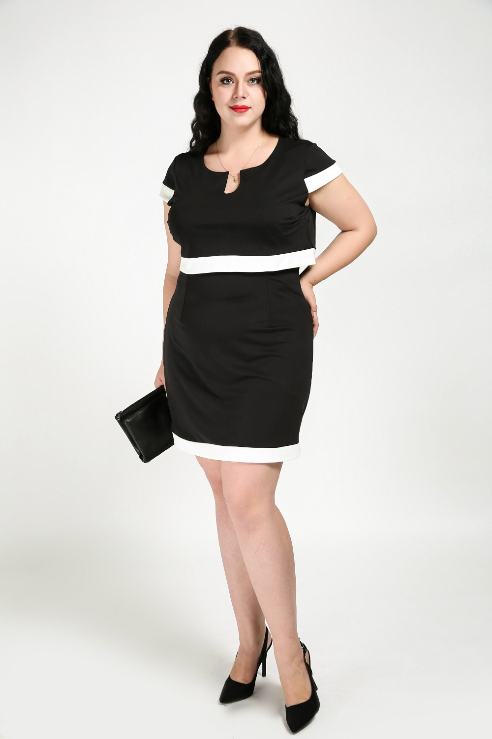Womens Sexy V Neck Plus Size Cocktail Party Dress White And Black