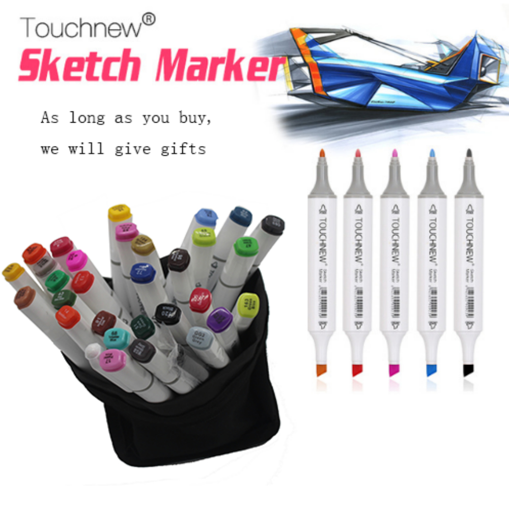 Free shipping two-headed Alcohol oily six generations mark brush pen hand-painted 30 48 color fine markers manga finecolour manga design 24 color three generations oily alcoholic paint mark pen permanent marker sketch double headed copic markers