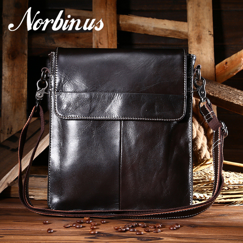 Norbinus Men Shoulder Bag Genuine Leather Messenger Bags Cowhide Crossbody Bag for Men Leather Handbags Business
