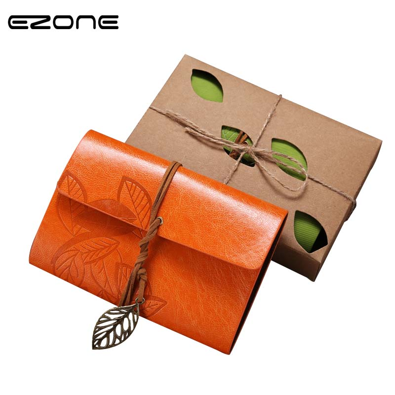 EZONE 1PC Traveler Leaf Notebook Diary Notepad Vintage literature PU Leather Note Book Stationery Gift Traveler Journal Planner