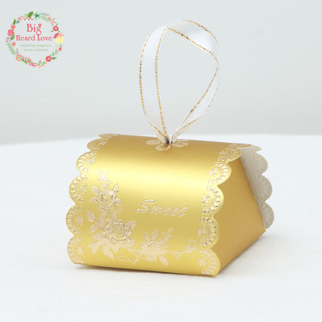 25pcs Sliver And Golden Color Pillow Candy Box Wedding Favors Boxes ...