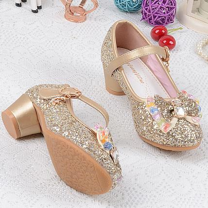 Qoblo 2018 Princess Kids High Heels Dress Party Leather Shoes Baby Girls Children's Sequins Shoes Enfants Wedding For Girl 26-37