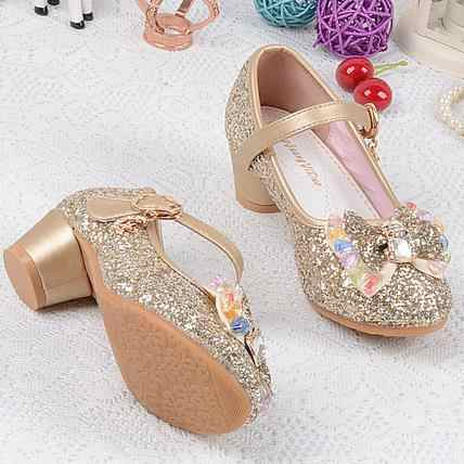 qoblo 2018 Princess Kids High Heels Dress Party Leather Shoes Baby Girls  Children s Sequins Shoes Enfants 55368fa00f9a